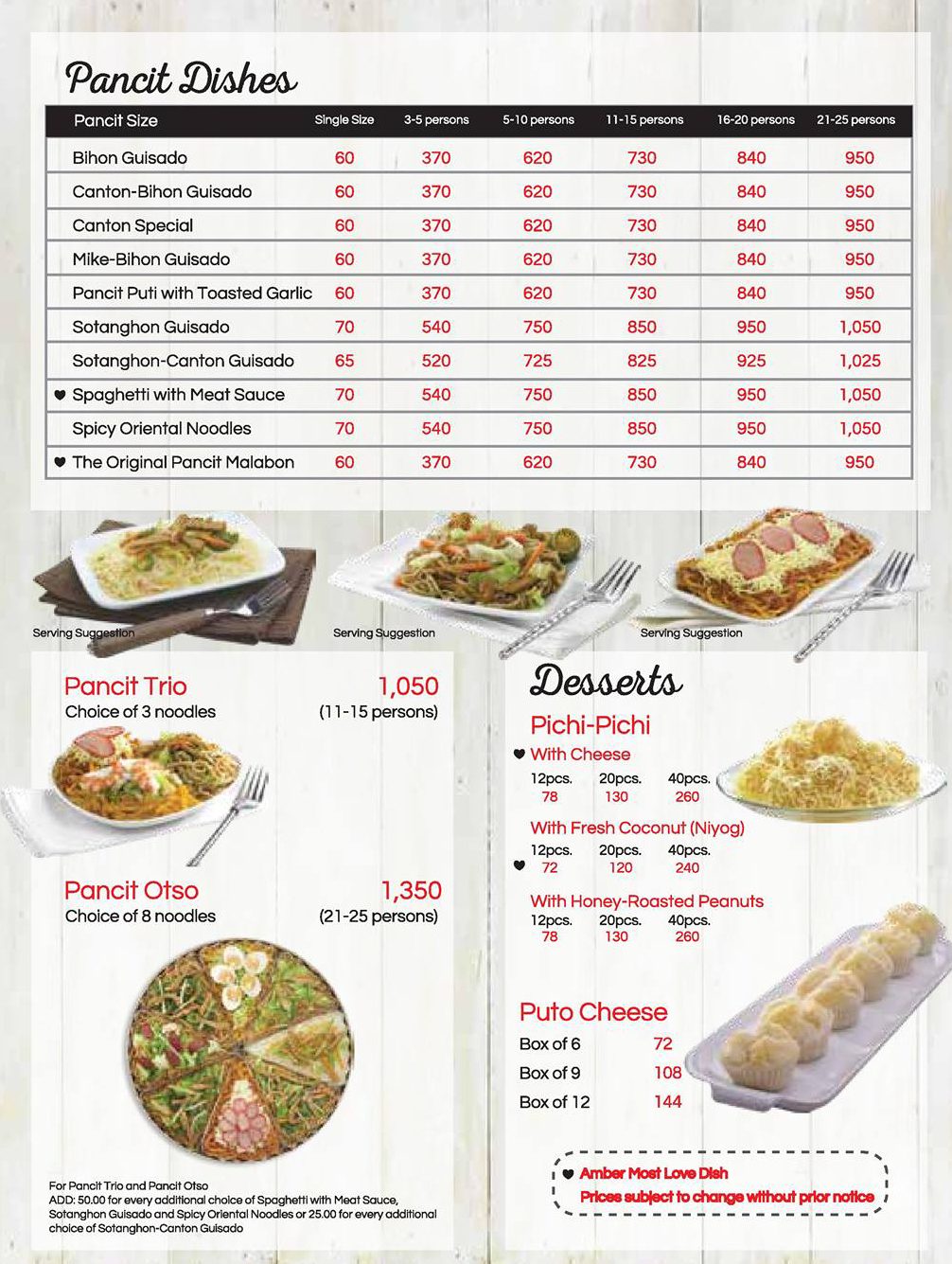 Amber Golden Chain of Restaurants Menu with Prices