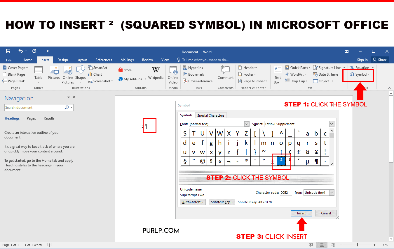 how to insert ² squared symbol in microsoft office